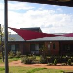 Red shade sail outdoor