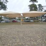 Cream Shade Structure over school oval