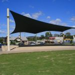 Large Black Shade Sail over Park