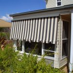 Side Chanel Automatic Awning Cream and Grey Striped