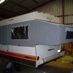 Grey Caravan extended awning