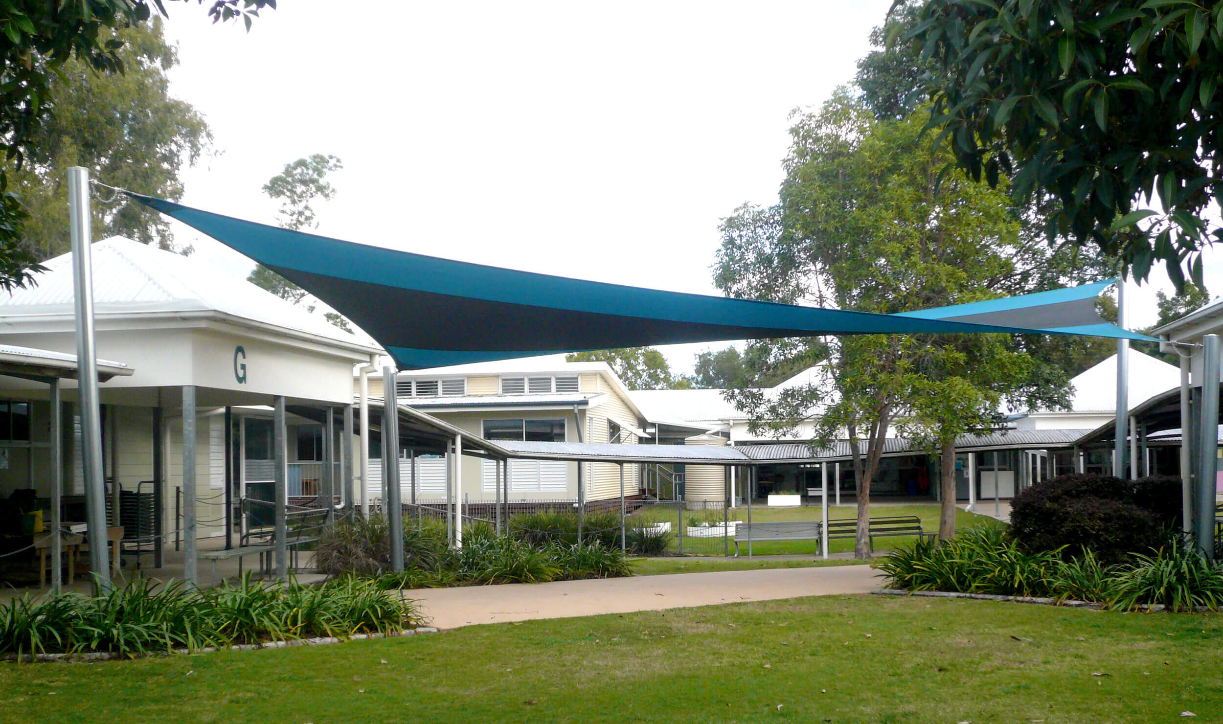 Blue Shade Sails at School